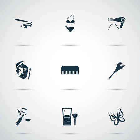 Cosmetics icons set with hair dye brush, butterfly, hairdryer and other hairbrush elements. Isolated illustration cosmetics icons.