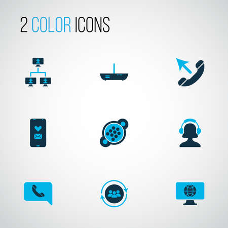 Iconos de conexión coloreados con llamada, enrutador, computadoras vinculadas y otros elementos de la comunidad. Iconos de conexión de ilustración vectorial aislado.