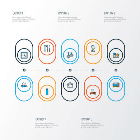 Gastronomy icons colored line set with spoon fork knife, water bottle, clock and other watch elements. Isolated vector illustration gastronomy icons. Ilustração