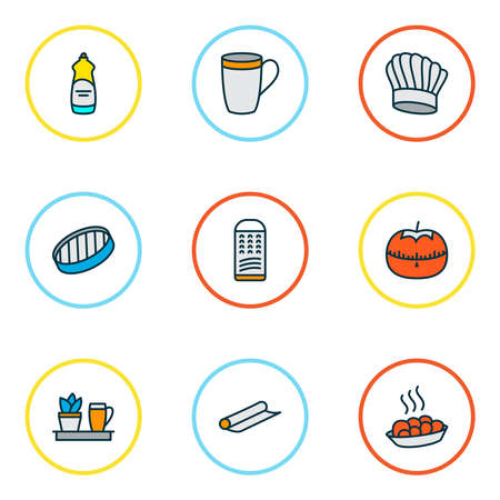 Gastronomy icons colored line set with grater, chef hat, tomato timer and other kitchen cap elements. Isolated illustration gastronomy icons. Standard-Bild