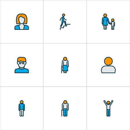 Human icons colored line set with male, rejoicing man, businesswoman and other man elements. Isolated illustration human icons. Banco de Imagens