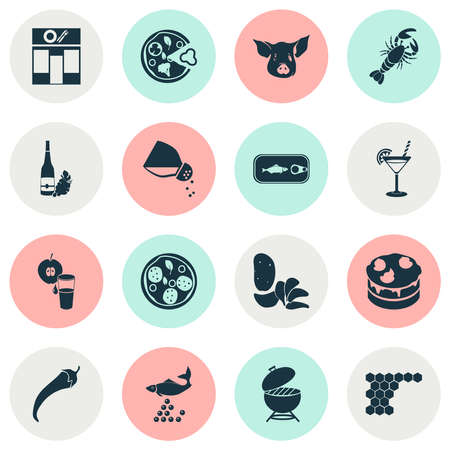Eating icons set with cocktail, restaurant, wine and other lemonade elements. Isolated vector illustration eating icons.  イラスト・ベクター素材