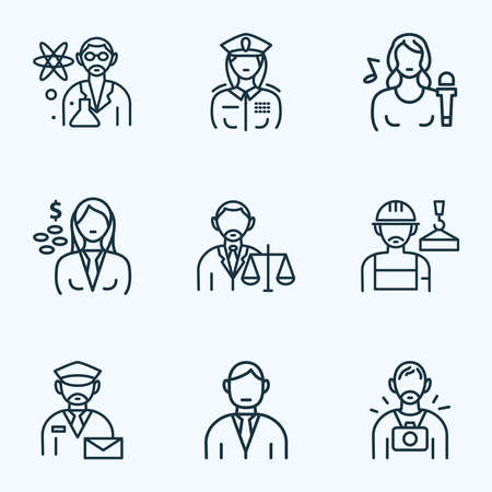 Job icons line style set with lawyer, photographer, builder and other mailman elements. Isolated vector illustration job icons.  イラスト・ベクター素材