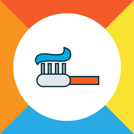 Toothpaste icon colored line symbol. Premium quality isolated toothbrush element in trendy style.