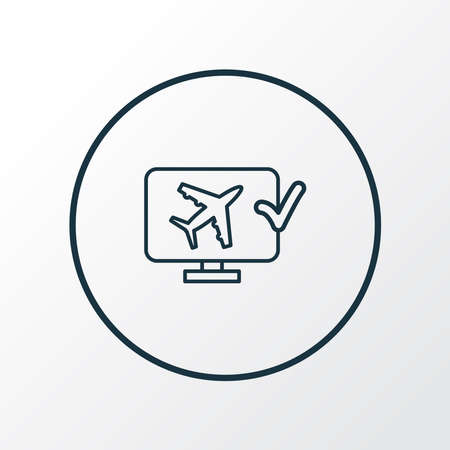 Online check-in icon line symbol. Premium quality isolated monitor element in trendy style.