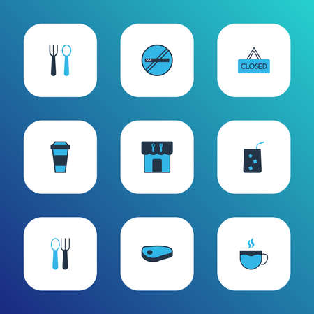Restaurant icons colored set with cafeteria, closed, silverware and other cigarette forbidden elements. Isolated vector illustration restaurant icons.