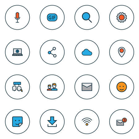 Network icons colored line set with sticker, share, wifi and other overcast elements. Isolated vector illustration network icons.