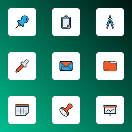 Tool icons colored line set with presentation board, envelope, folder and other training elements. Isolated vector illustration tool icons.  イラスト・ベクター素材