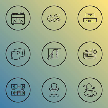 House icons line style set with window, ergonomic armchair, pillow and other nightstand elements. Isolated vector illustration house icons.