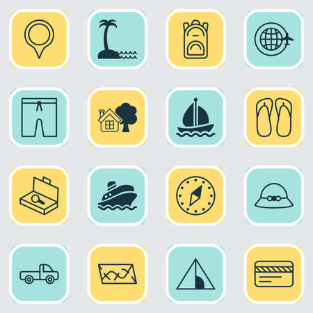 Travel icons set with swim suit, farm house, summer hat and other slipper elements. Isolated vector illustration travel icons.  イラスト・ベクター素材