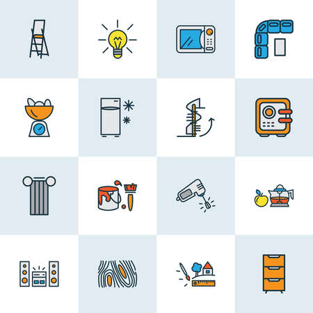 Home decoration icons colored line set with lightbulb, circular staircase, mixer and other strongbox elements. Isolated vector illustration home decoration icons.