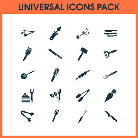 Kitchenware icons set with kitchenware, sharp, pastry bag and other grater elements. Isolated illustration kitchenware icons. Standard-Bild