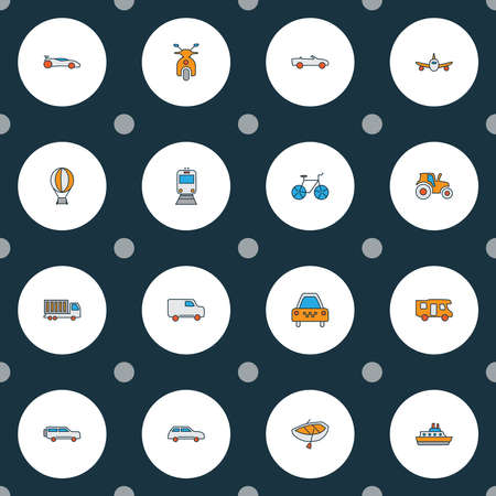Transportation icons colored line set with campervan, suv, cabriolet and other car elements. Isolated vector illustration transportation icons.