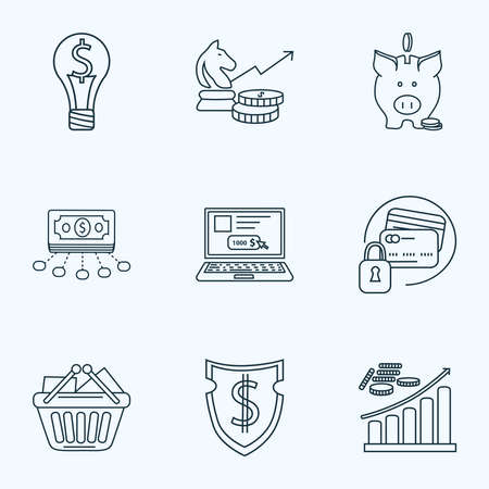 Financial icons line style set with online payment, investment strategy, smart solution and other internet banking   elements. Isolated  illustration financial icons.