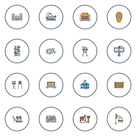 Home decoration icons colored line set with double bed, coffee table, barstool and other ceiling elements. Isolated illustration home decoration icons. 写真素材