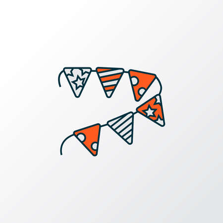 Paper garland icon colored line symbol. Premium quality isolated bunting element in trendy style.