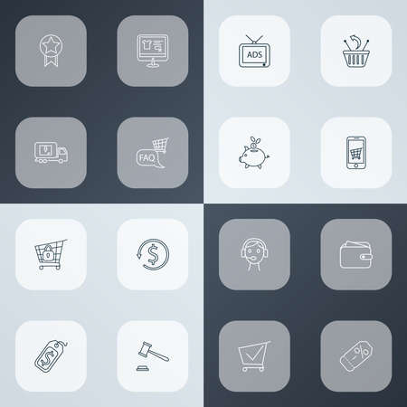 E-commerce icons line style set with auction, delivery truck, price tag and other discount label elements. Isolated illustration e-commerce icons. 写真素材