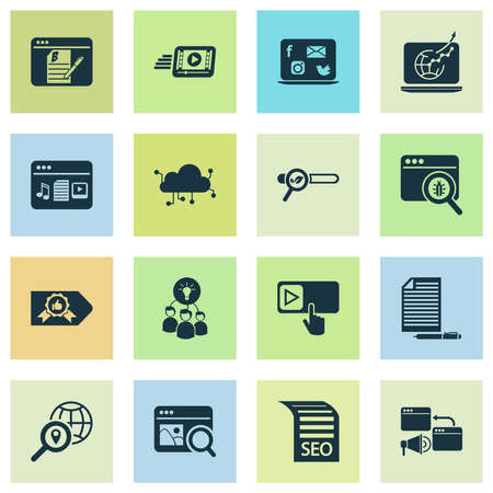 Finance icons set with bug fixing, traffic growth, brainstorming and other exchange elements. Isolated illustration finance icons. 写真素材