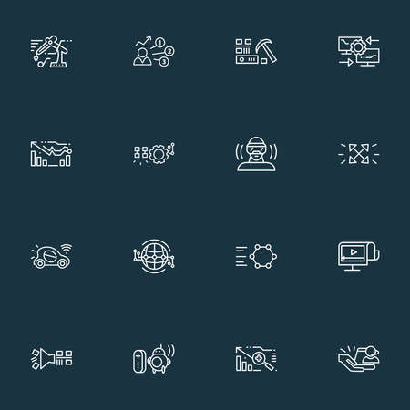 Information technology icons line style set with user predictions, flexible display, reverse engineering and other automobile elements. Isolated illustration information technology icons. 写真素材