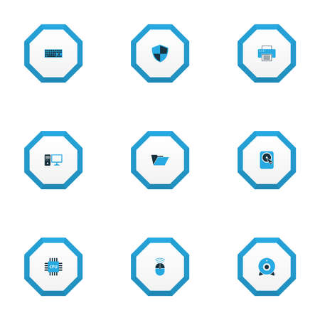 Hardware icons colored set with webcam, hard disk, PC and other print   elements. Isolated  illustration hardware icons.