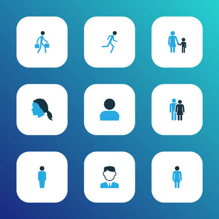 People icons colored set with running, head, user and other worker    elements. Isolated  illustration people icons.