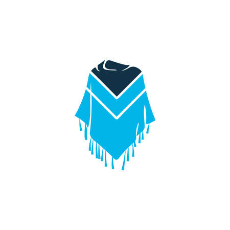 Poncho icon colored symbol. Premium quality isolated mexico costume element in trendy style.  イラスト・ベクター素材