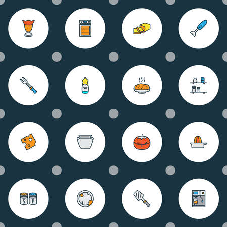 Cook icons colored line set with butter, salt with pepper, hot rice and other cheddar elements. Isolated vector illustration cook icons. Illustration