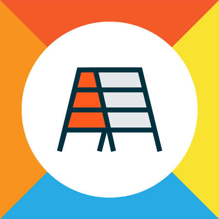 Stepladder icon colored line symbol. Premium quality isolated stairs element in trendy style.