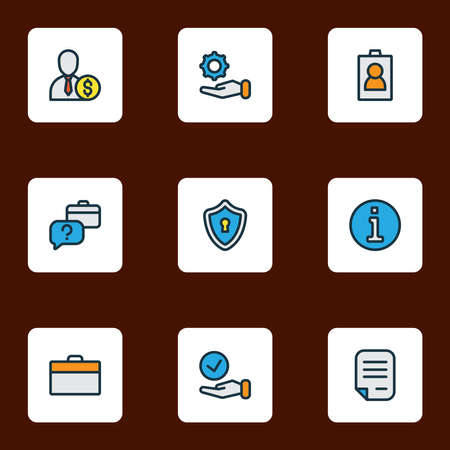 Work icons colored line set with briefcase, information, privacy and other identification card elements. Isolated vector illustration work icons. Ilustração