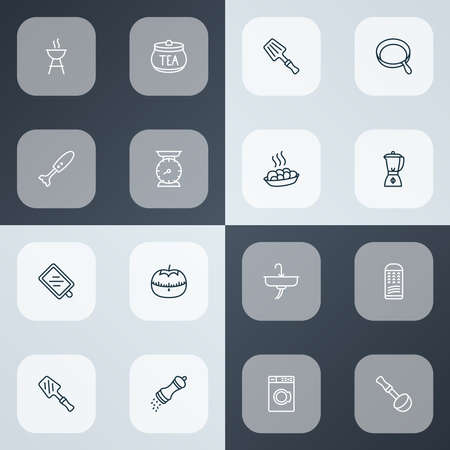 Culinary icons line style set with tea container, kitchen scales, bbq spatula and other laundromat elements. Isolated vector illustration culinary icons. Ilustração