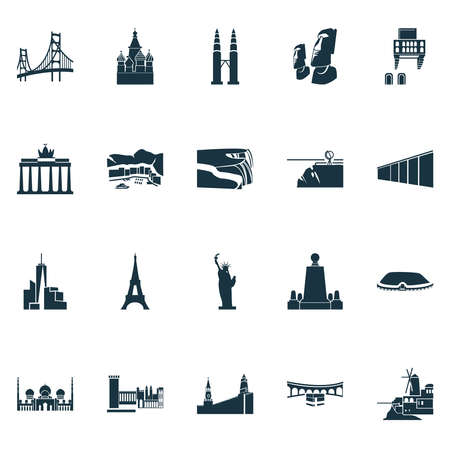 Tourism icons set with portofino, cityscape, brandenburg gate freedom tower elements. Isolated vector illustration tourism icons.