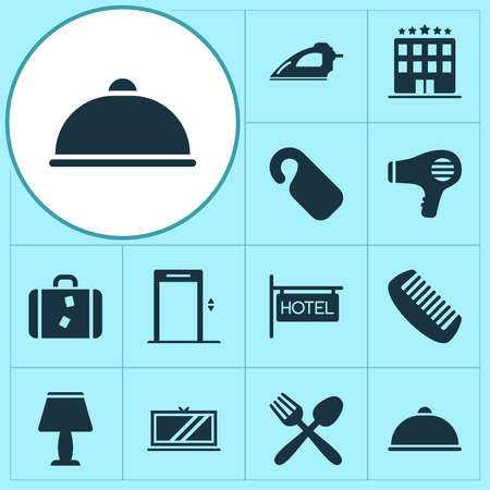 Tourism icons set with food, hairdryer, elevator and other restaurant elements. Isolated vector illustration tourism icons.