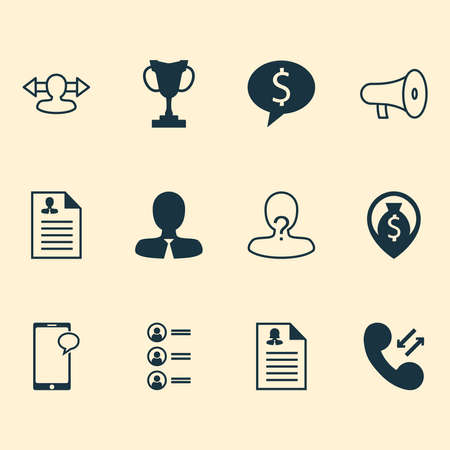Management icons set with chat, curriculum vitae, money and other bullhorn elements. Isolated vector illustration management icons.
