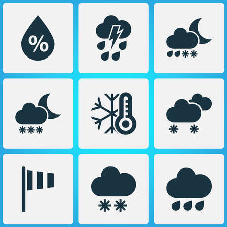 Climate icons set with cold, thundershower, vane and other cloudy small amount of snow elements. Isolated vector illustration climate icons. 向量圖像