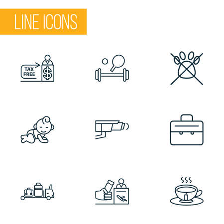 Travel icons line style set with tax free, baby room, registration board and other cashier elements. Isolated illustration travel icons.
