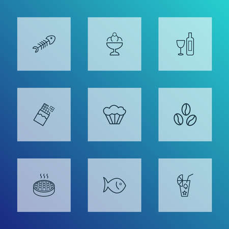 Nutrition icons line style set with chocolate, smoothie, coffee bean and other cupcake elements. Isolated vector illustration nutrition icons.