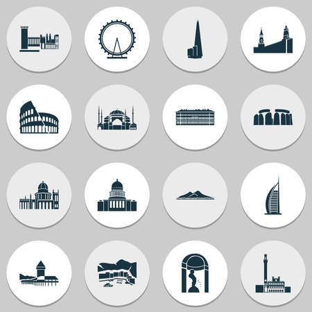 Tourism icons set with hermitage, stonehenge, manneken pis and other italian town elements. Isolated vector illustration tourism icons.