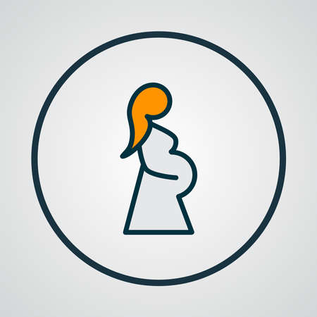 Pregnant woman icon colored line symbol. Premium quality isolated pregnancy element in trendy style. Ilustrace