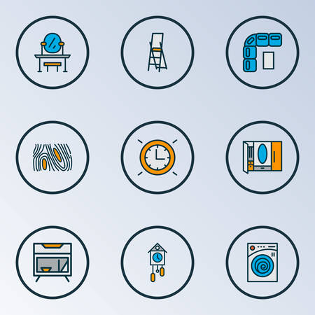 House icons colored line set with cuckoo clock, wall clock, wardrobe and other stairs elements. Isolated vector illustration house icons.