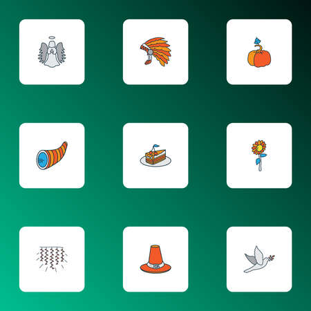 Thanksgiving icons colored line set with pumpkin, angel, light garlands dessert elements. Isolated vector illustration thanksgiving icons.