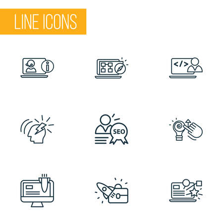 Search icons line style set with awards campaign, online consulting, creative idea and other telecommunication elements. Isolated illustration search icons. 스톡 콘텐츠