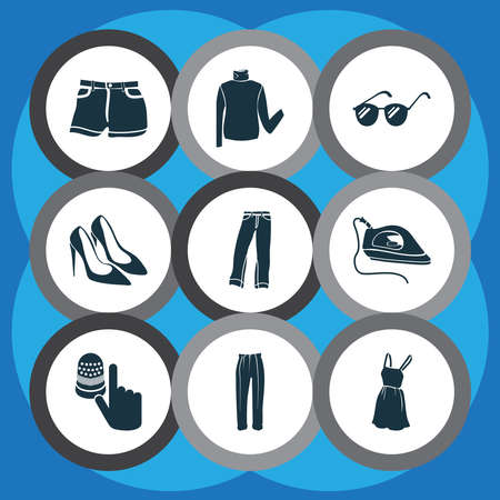 Style icons set with denim, classic pants, beachwear and other jeans elements. Isolated vector illustration style icons. Illusztráció