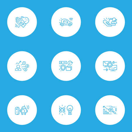 Tech icons line style set with data insight, personal droid, autonomous car and other solution elements. Isolated vector illustration tech icons.