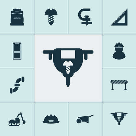 Industry icons set with auger, barrage, straightedge and other approach elements. Isolated vector illustration industry icons.  イラスト・ベクター素材