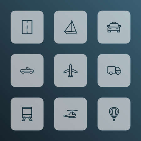 Shipment icons line style set with caravan, cab, carriage and other helicopter elements. Isolated vector illustration shipment icons. Illusztráció