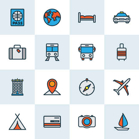 Exploration icons colored line set with baggage suitcase, sail boat, tent and other payment elements. Isolated vector illustration exploration icons.