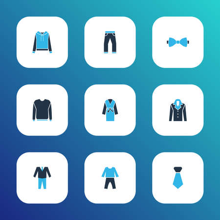 Clothes icons colored set with suit, bow tie, jumper and other cravat elements. Isolated vector illustration clothes icons.