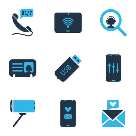 Telecommunication icons colored set with search operator, 24/7 access, usb and other heart letter