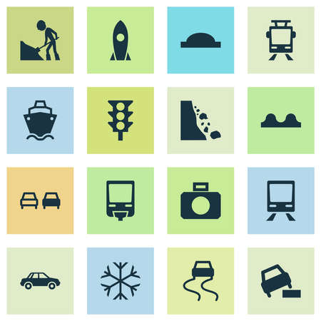 Transportation icons set with rocket, road work, car and other workman elements. Isolated vector illustration transportation icons. Illusztráció