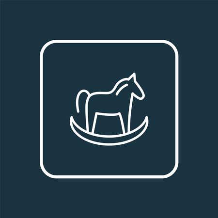 Ride on horse toy icon line symbol. Premium quality isolated pony element in trendy style. Illusztráció